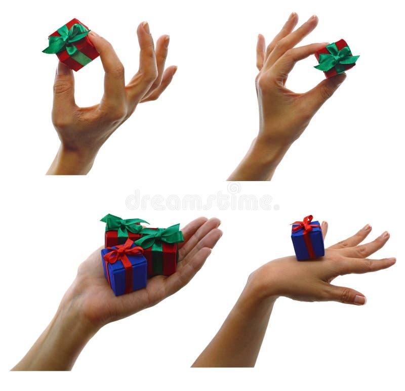 Download Комплект рук с подарками стоковое изображение. изображение насчитывающей канун - 33733047