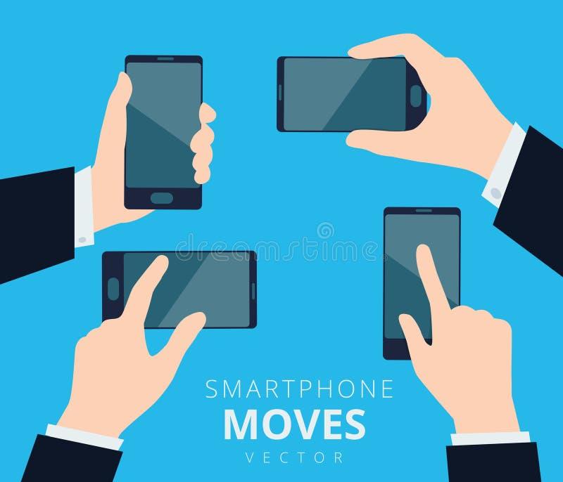 Комплект рук с smartphone, двигает и показывать сенсорный экран сотового телефона designÑŽ иллюстрация вектора