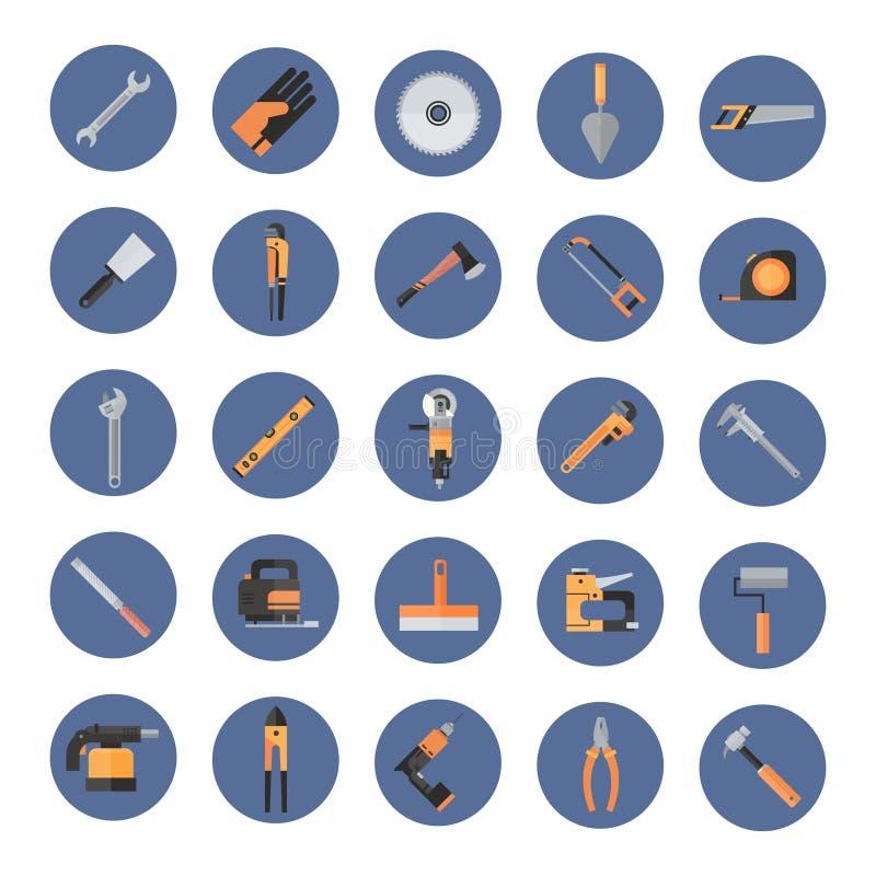 Комплект ручных резцов ремонта и конструкции работая, значков собрания оборудования иллюстрация вектора