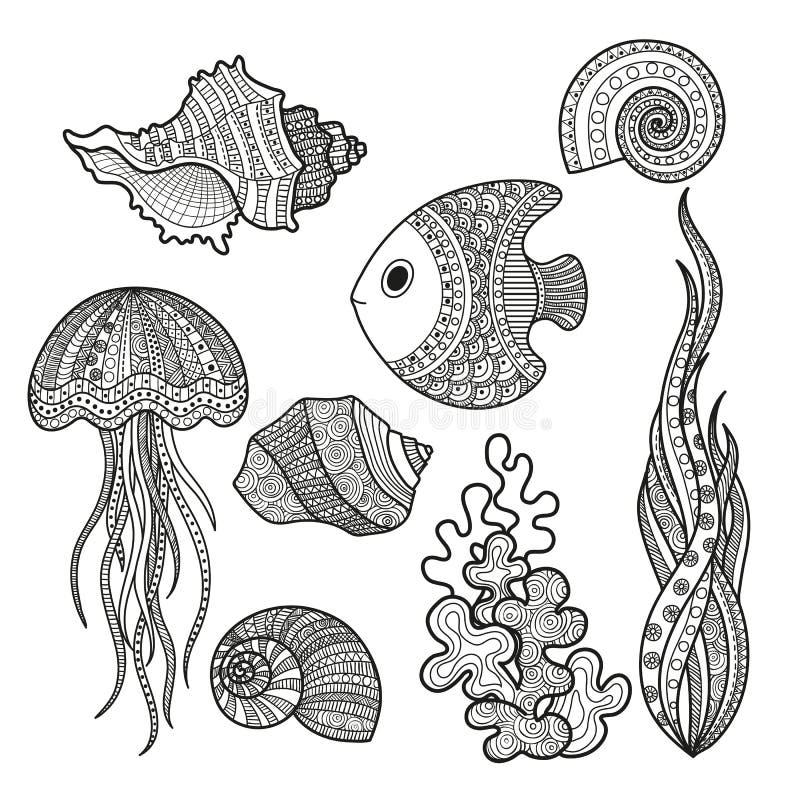 Комплект рыб морской флоры и фауны иллюстрация штока