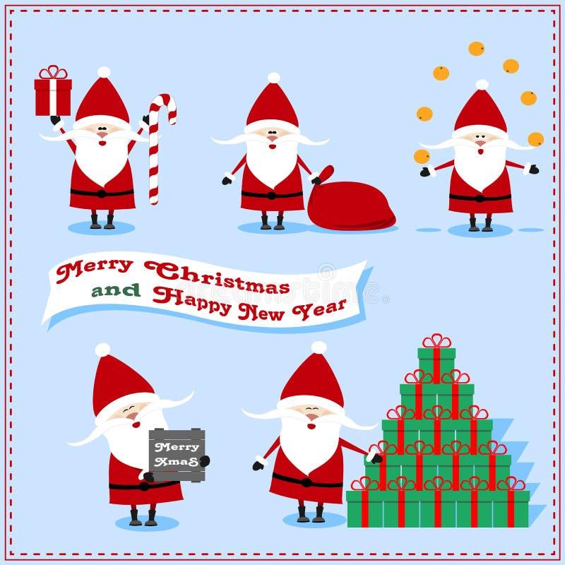 Комплект Санта Клауса с настоящими моментами, апельсинами, конфетой, подарками сумки стоковая фотография
