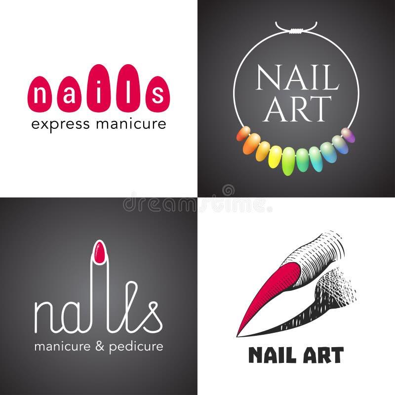 Комплект салона ногтей, логотипа вектора искусства ногтей, значка, символа, эмблемы иллюстрация вектора