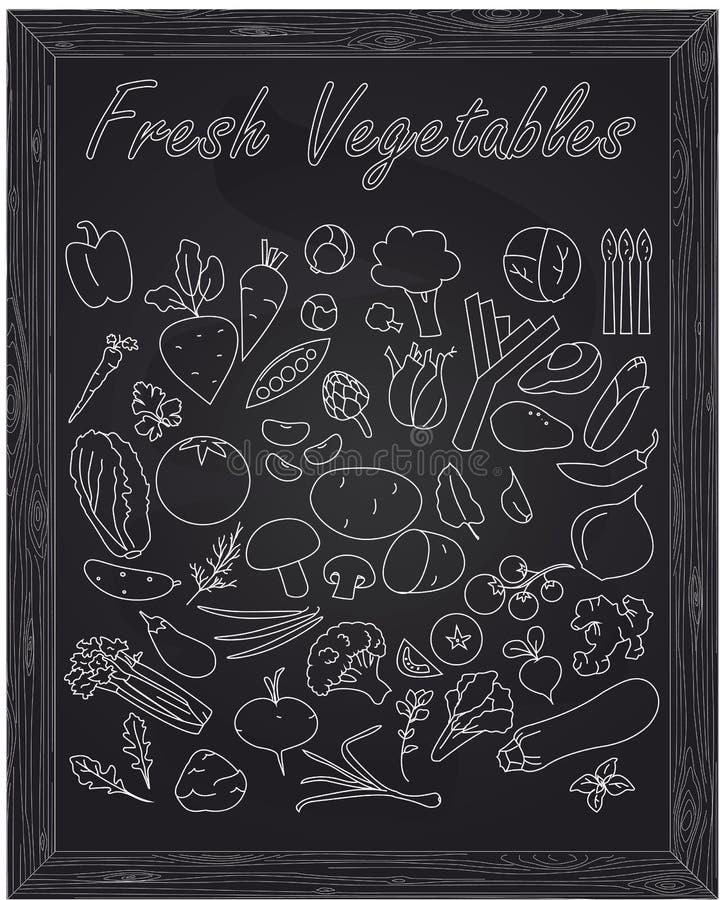 Комплект свежих зрелых овощей иллюстрация штока
