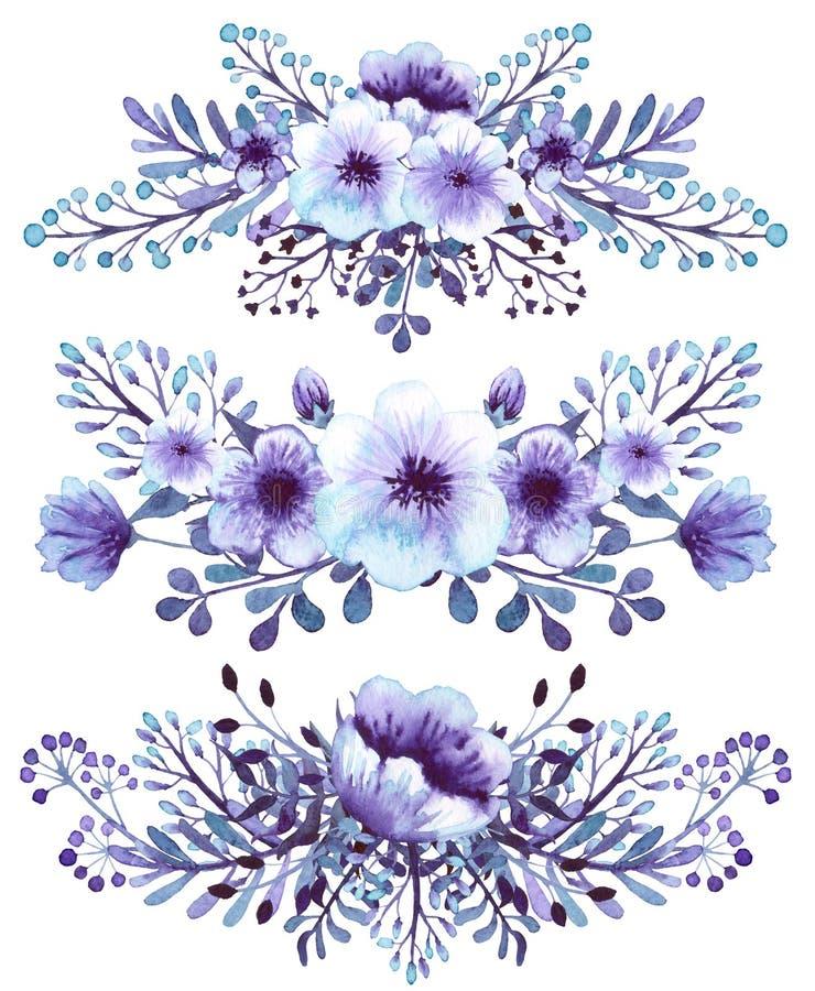 Комплект света акварели - голубого и фиолета цветет букеты бесплатная иллюстрация