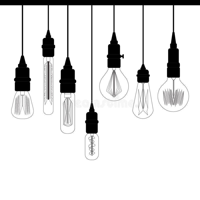 Комплект светов просторной квартиры Edison Ретро лампа для каталога дизайна стоковые фото