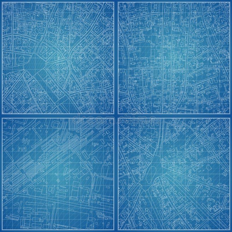 Комплект светокопий вектора с топографией города иллюстрация вектора