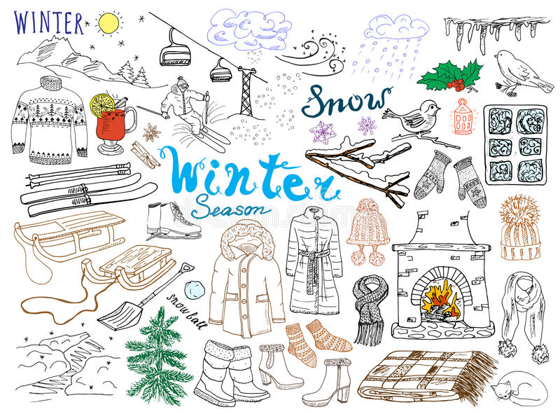 Комплект сезона зимы doodles элементы Комплект нарисованный рукой с стеклянными горячими вином, ботинками, одеждами, камином, гор иллюстрация вектора