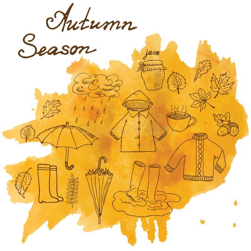 Комплект сезона осени doodles элементы Комплект нарисованный рукой с cuo umprella горячего чая, дождя, резиновых ботинок, одежд и иллюстрация вектора