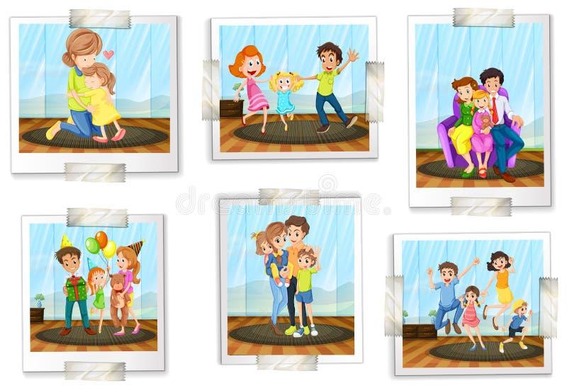 Комплект семейных фото бесплатная иллюстрация