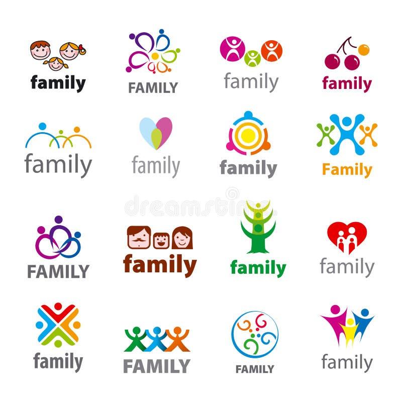 Комплект семьи логотипов вектора иллюстрация штока