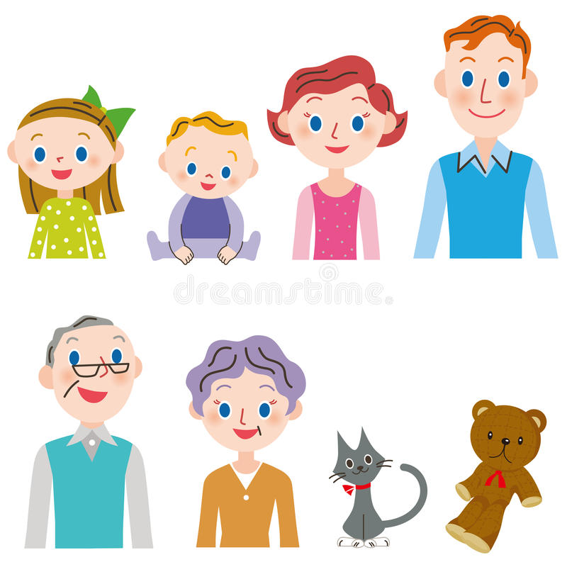 комплект семьи 3-поколения иллюстрация штока
