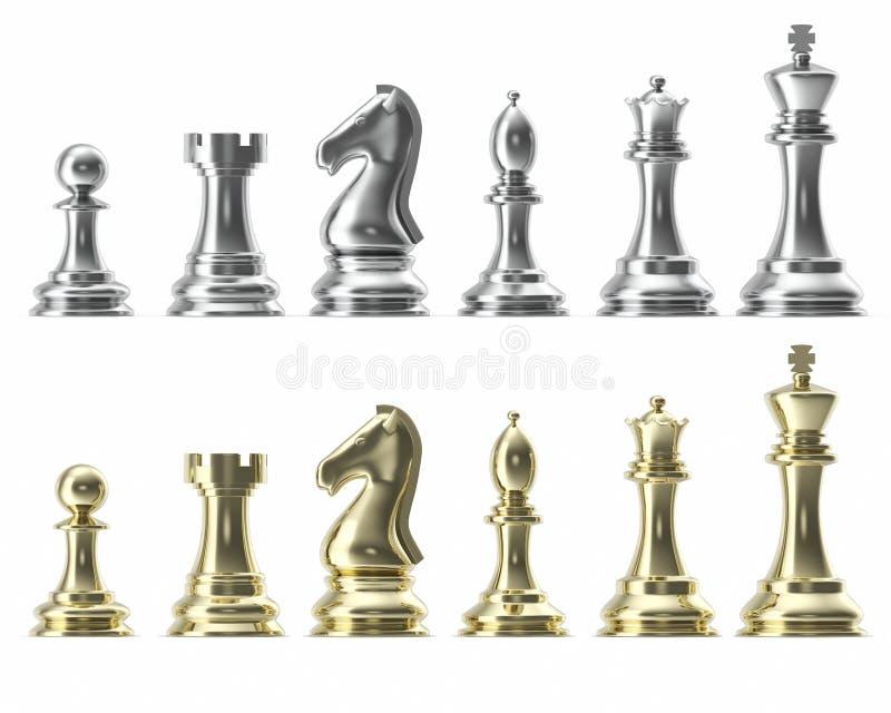 Комплект серебра и золота значков для шахмат, на белой предпосылке, умная игра, перевод 3d иллюстрация штока