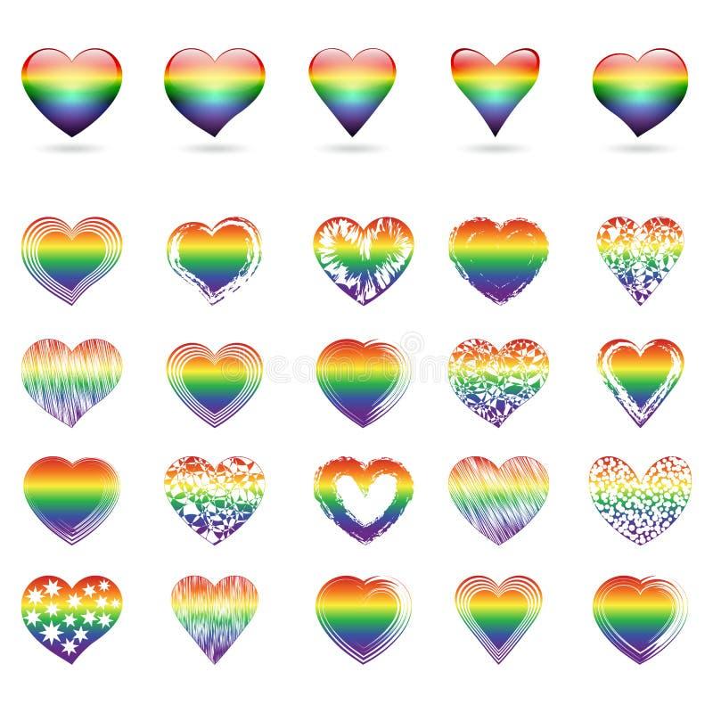 Комплект сердец радуги бесплатная иллюстрация
