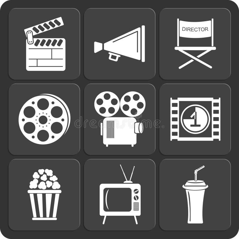 Комплект сети 9 кино и передвижных значков вектор иллюстрация штока