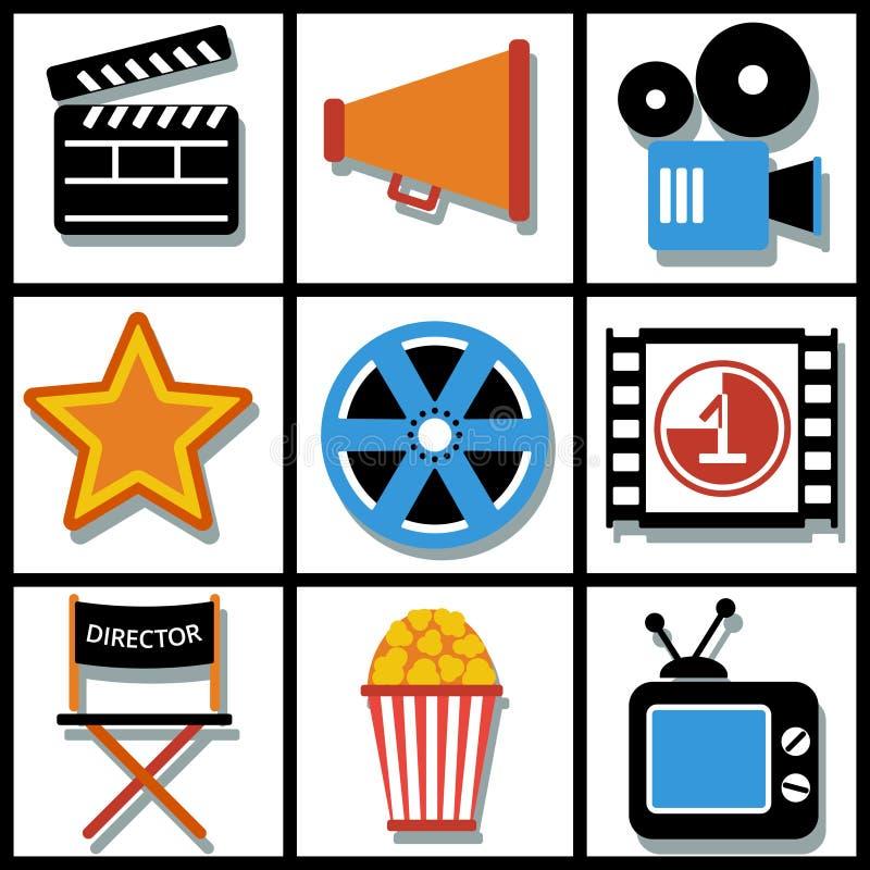 Комплект сети 9 кино и передвижных значков вектор иллюстрация вектора