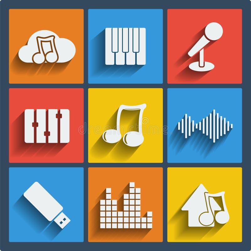 Комплект сети музыки 9 и передвижных значков. Вектор. бесплатная иллюстрация