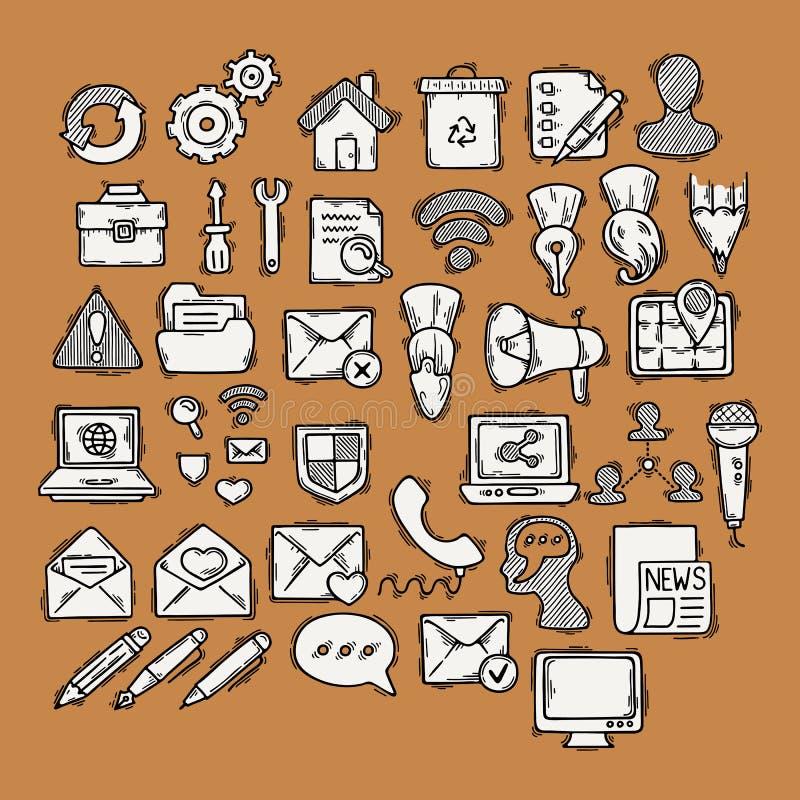 Комплект сети doodle, компьютера и значков чертежа бесплатная иллюстрация