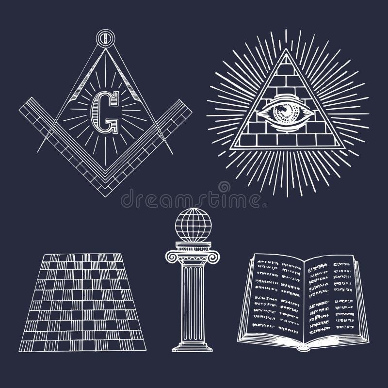 Комплект символов вектора masonic Священные значки общества, эмблемы масонства, логотипы Эзотерическое собрание иллюстраций иллюстрация вектора