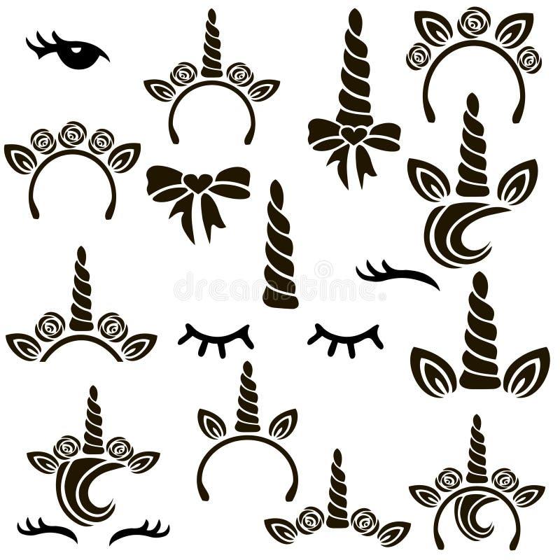 Комплект символов единорога иллюстрация вектора