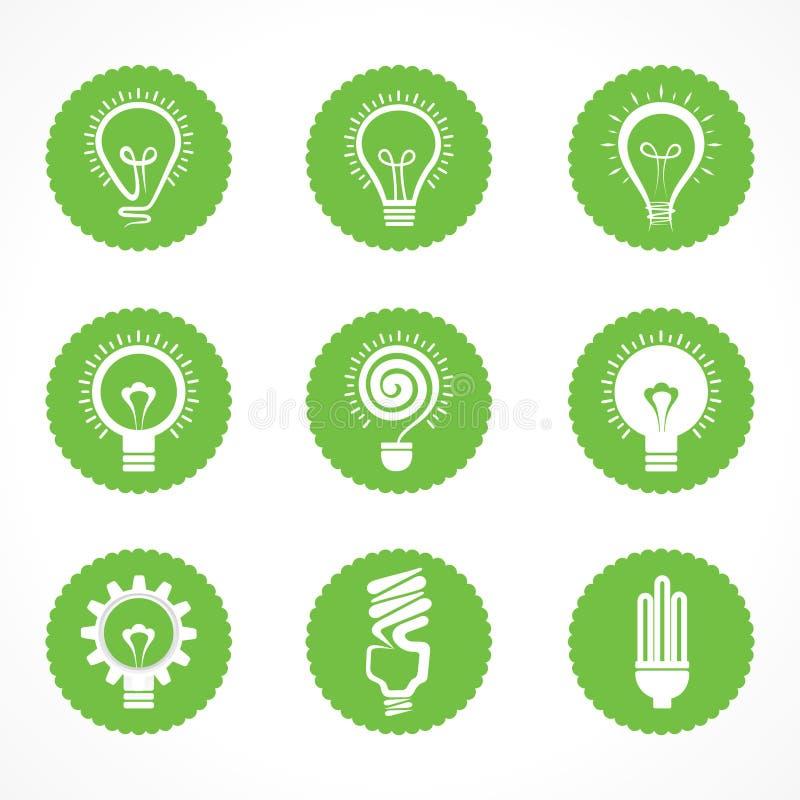 Комплект символов и значков электрической лампочки eco иллюстрация штока