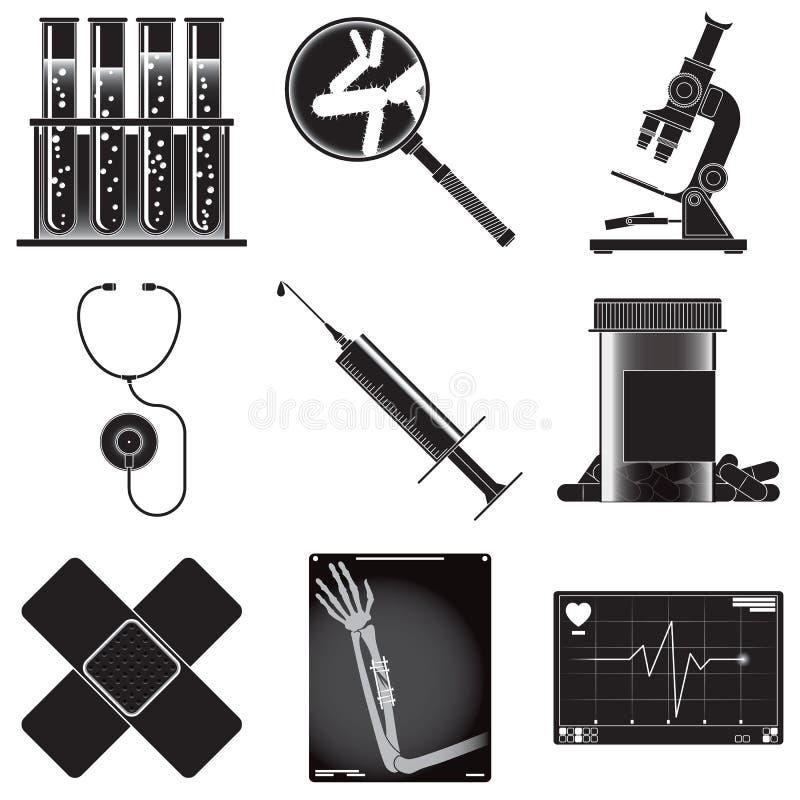 Комплект символов медицины иллюстрация штока