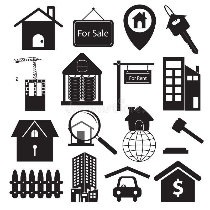 Комплект символов недвижимости иллюстрация вектора
