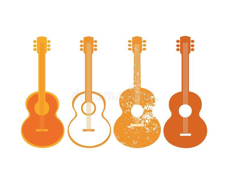 Комплект силуэта акустической гитары иллюстрация вектора