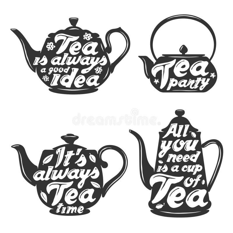 Комплект силуэтов бака чая с цитатами бесплатная иллюстрация