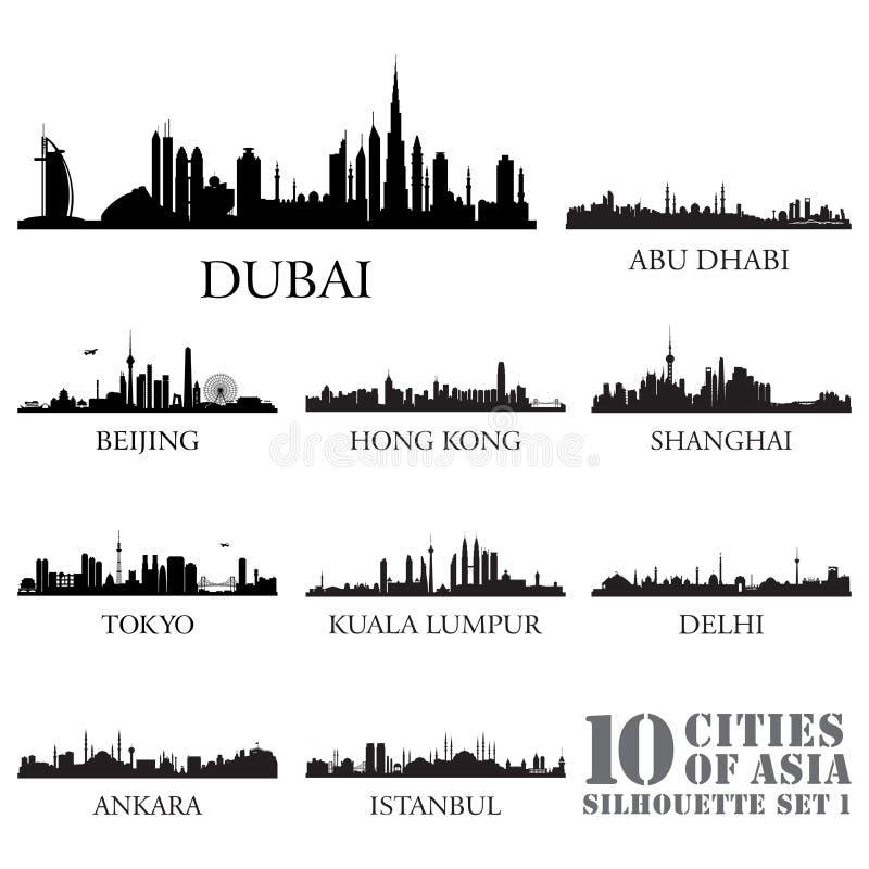 Комплект силуэтов городов горизонта 10 городов Азии #1 иллюстрация штока