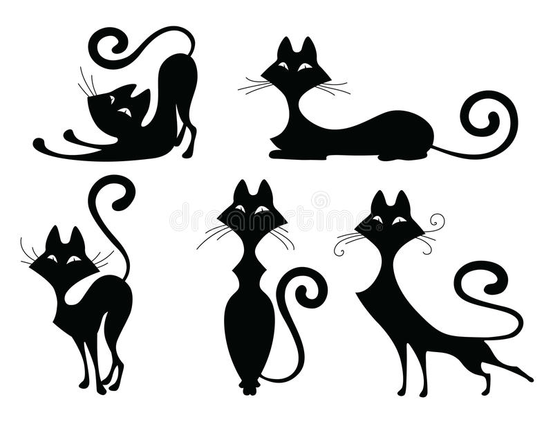 Комплект силуэтов кота иллюстрация вектора