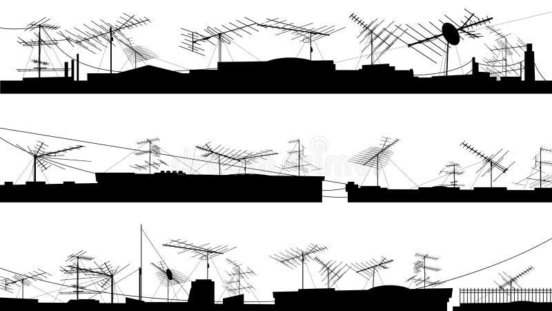 Комплект силуэтов крыши с антеннами. иллюстрация штока