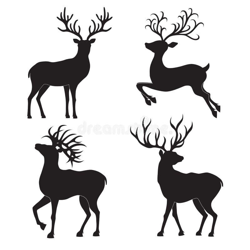 Комплект силуэтов оленей рождества на белой предпосылке бесплатная иллюстрация