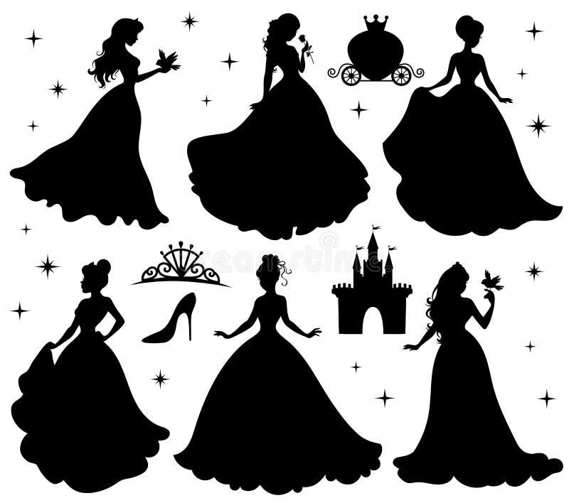 Комплект силуэтов принцессы иллюстрация вектора