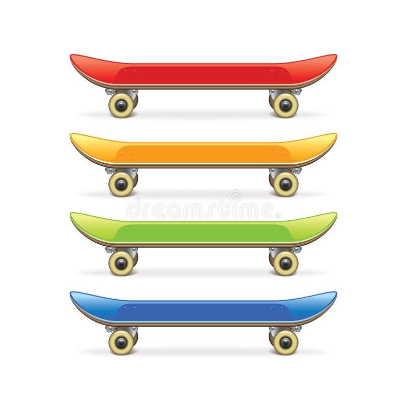 Комплект скейтборда изолированный на белом векторе бесплатная иллюстрация