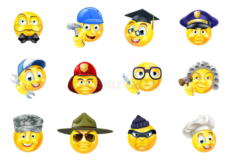 Комплект смайлика Emoji работы занятий работ иллюстрация вектора