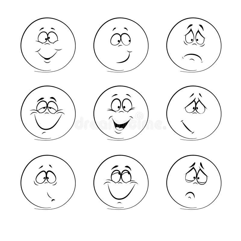 Комплект смайликов, эмоция, чувства, опыт бесплатная иллюстрация