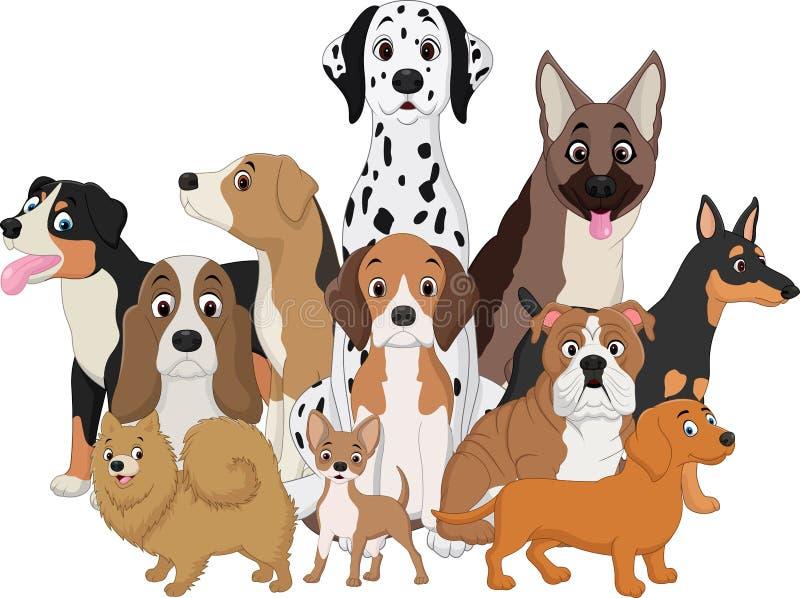 Комплект смешного шаржа собак иллюстрация вектора