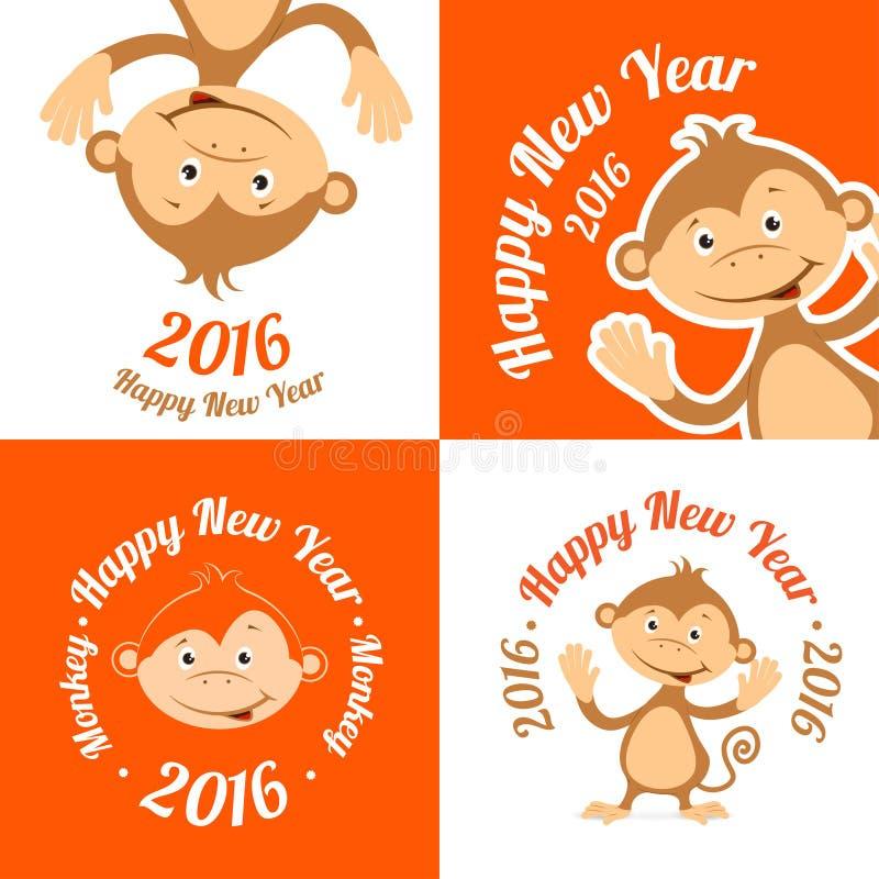 Комплект смешной обезьяны шаржа плосок Символ  иллюстрация штока