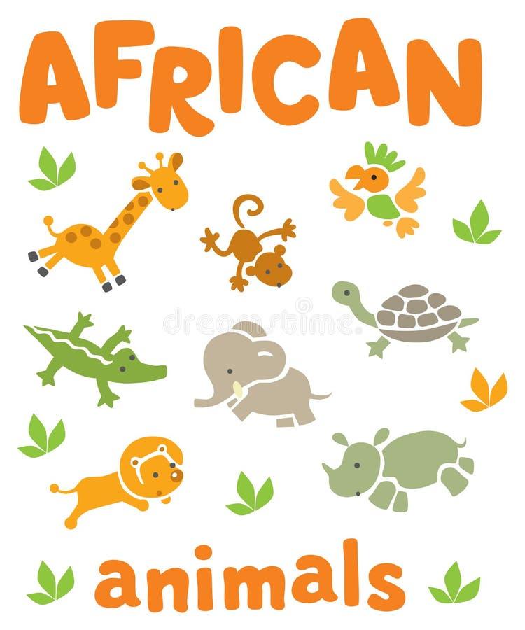 Комплект смешных африканских животных иллюстрация вектора