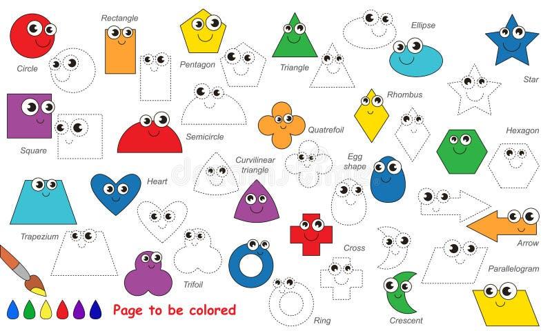 Комплект смешных геометрических форм, который нужно следовать Игра трассировки вектора бесплатная иллюстрация