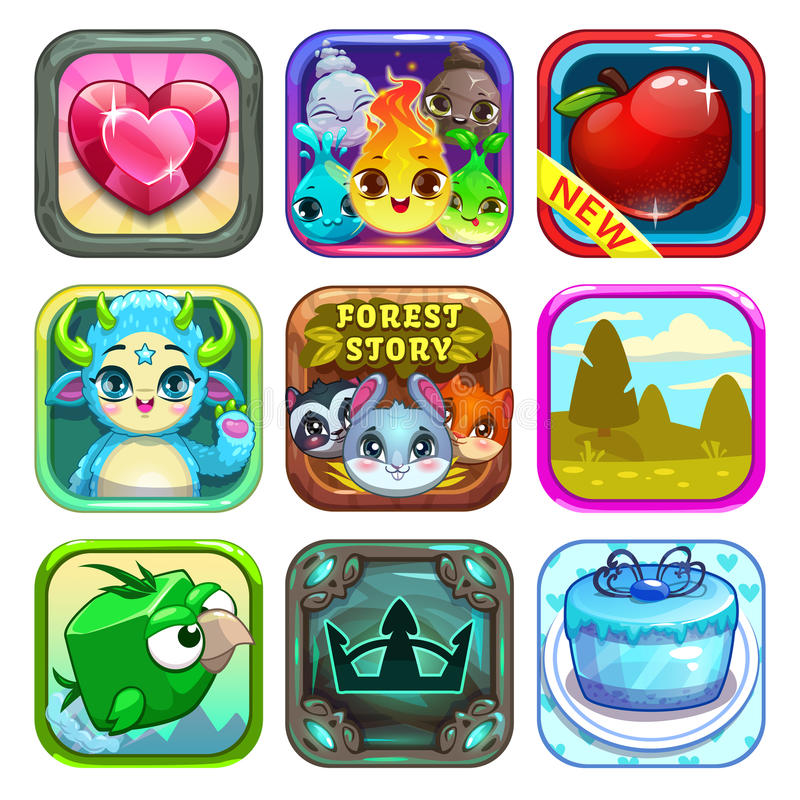 Комплект смешных холодных значков игры магазина app иллюстрация штока