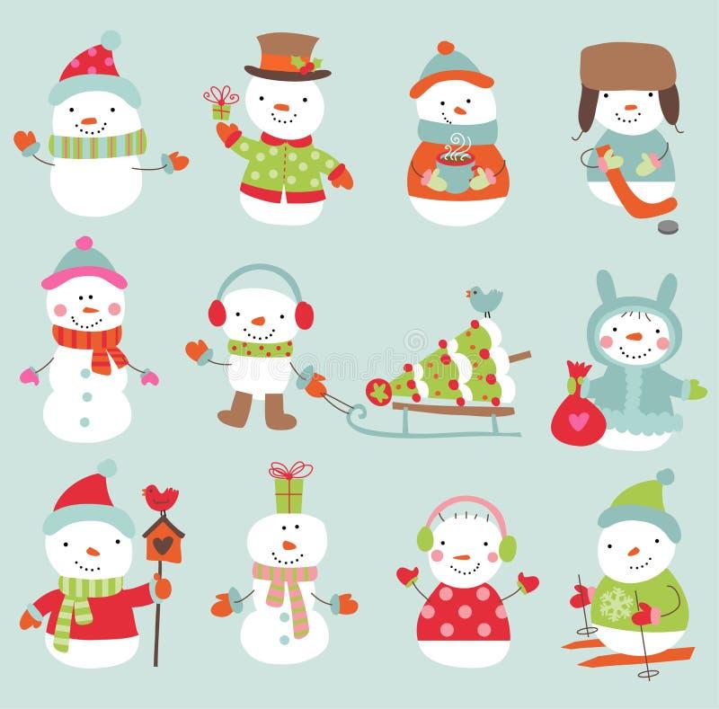 Комплект снеговиков вектора 11 милых и смешных бесплатная иллюстрация