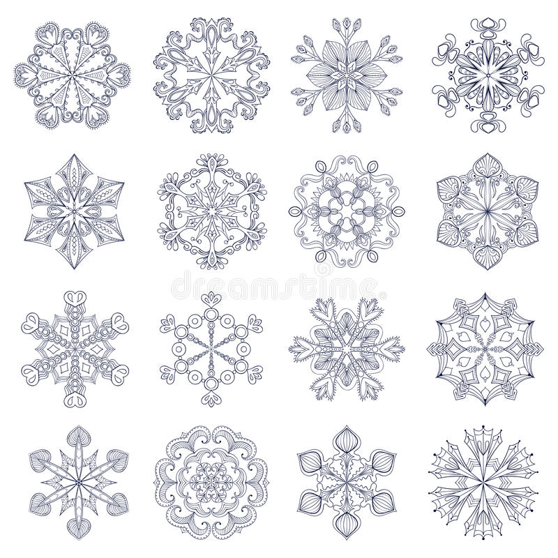 Комплект снежинки вектора винтажный в стиле zentangle sno 16 оригиналов иллюстрация вектора
