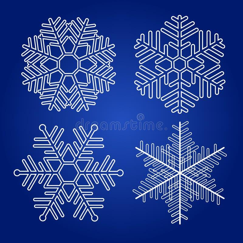 Комплект снежинок вектора иллюстрация вектора