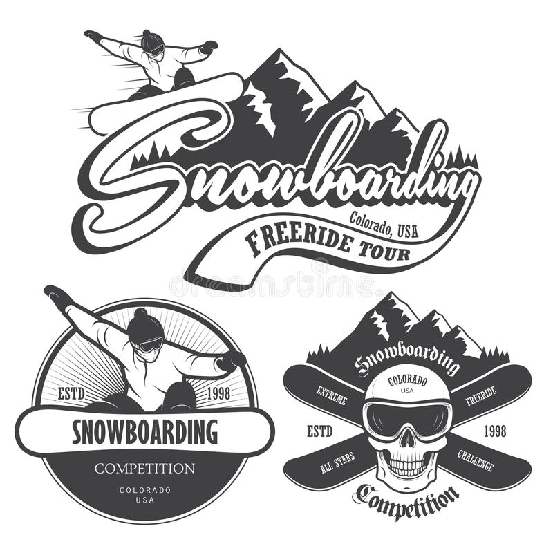 Комплект сноубординга emblems, ярлыки и конструированные элементы иллюстрация штока