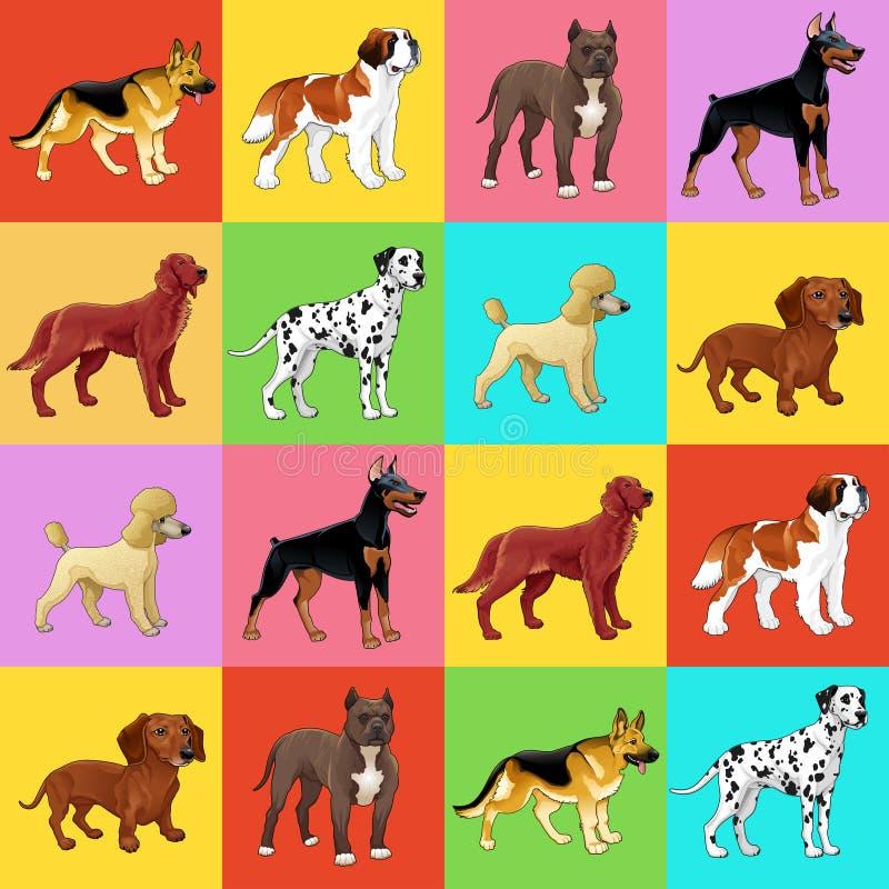 Комплект собаки с предпосылкой иллюстрация штока