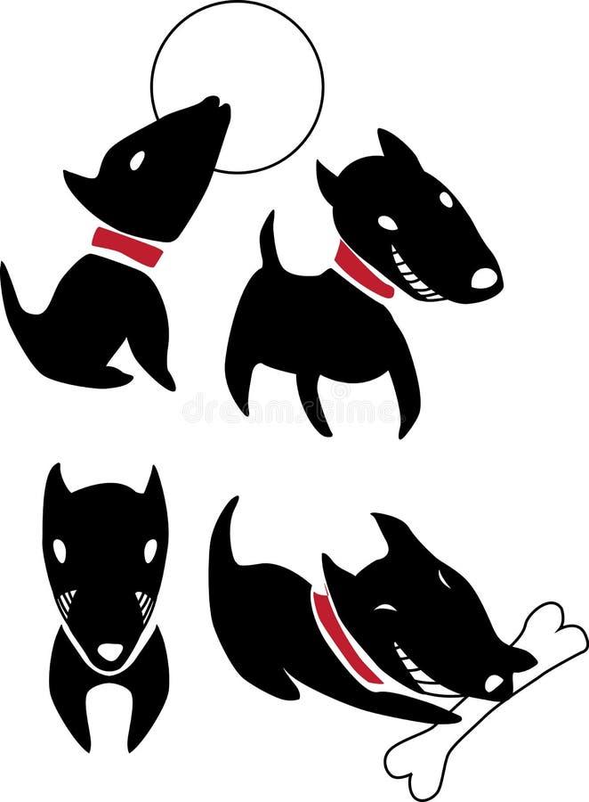 Комплект собак смешного шаржа черных иллюстрация штока