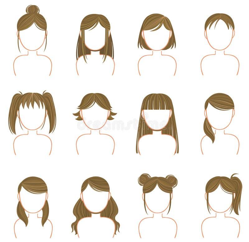 Комплект собрания значка стиля причёсок золота иллюстрация вектора