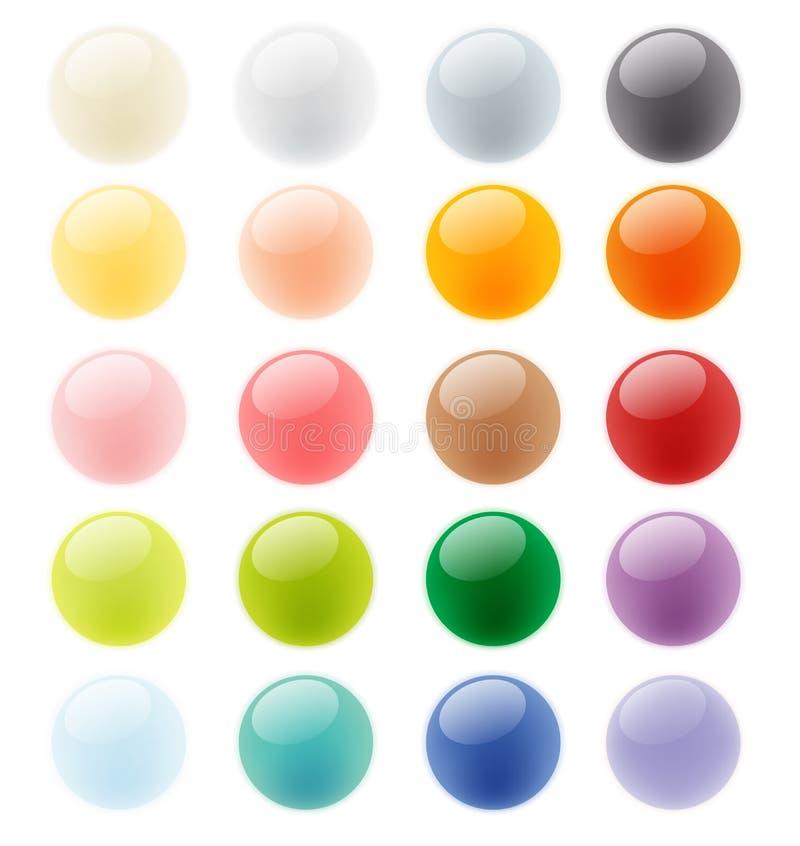 Комплект собрания лоснистого красочного элемента кнопки иллюстрация штока