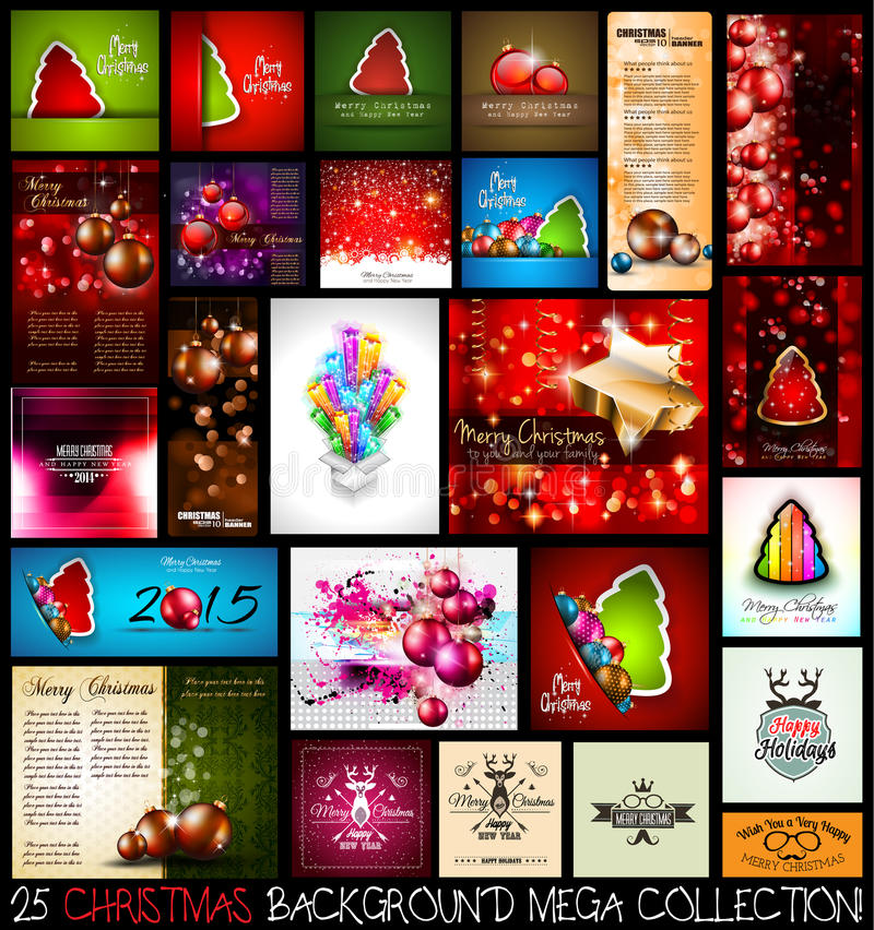 Комплект собрания предпосылки рождества 25 МЕГА иллюстрация штока